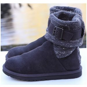 UGG Gray Leather & Knit Sequin Buckle Boots